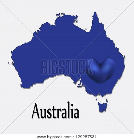 Vector illustration of a map of Australia.I love Australia. The heart of the country.
