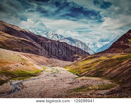 Vintage retro effect filtered hipster style image of Himalayan landscape. Spiti valley, Himachal Pradesh, India