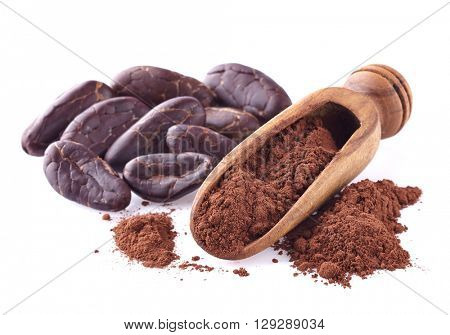 Cacao powder on a white background