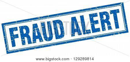 fraud alert blue grunge square stamp on white
