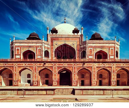 Vintage retro effect filtered hipster style image of Humayun's Tomb. Delhi, India. UNESCO World Heritage Site. Frontal View