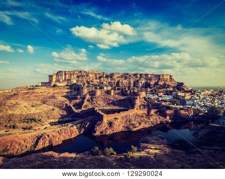 Vintage retro effect filtered hipster style image of Mehrangarh Fort famous indian tourist landmark, Jodhpur, Rajasthan, India