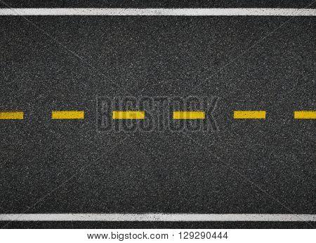 Road top view. Asphalt highway line marks.