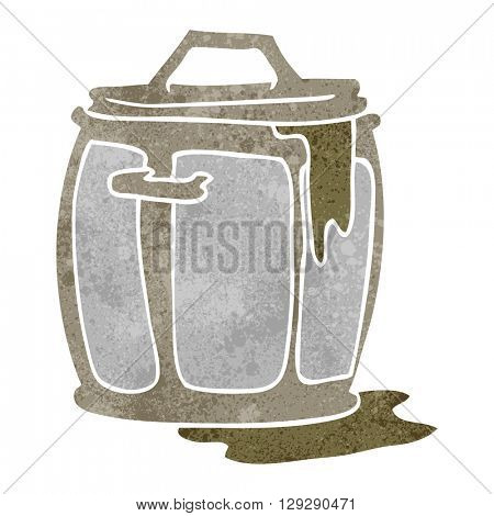 freehand retro cartoon dirty garbage can