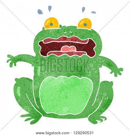 freehand retro cartoon funny frightened frog
