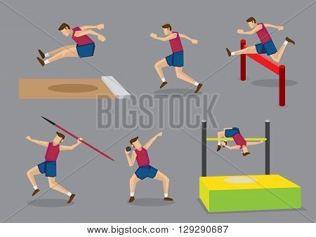 Vector illustration athlete doing different track and field sports long jump running hurdles javelin throw shot put and high jump isolated on grey background.