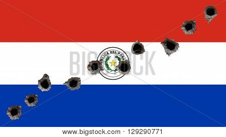 Flag of Paraguay, Paraguayan Flags with bullet holes