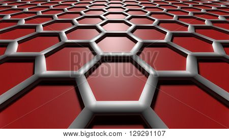 3D red color abstract cellular lattice background