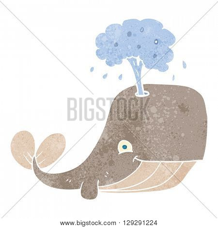 freehand retro cartoon whale spouting water