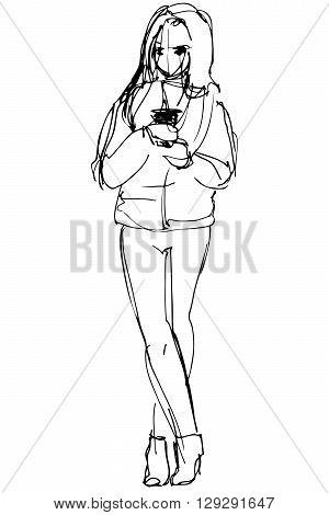 black and white vector sketch of a girl in a short jacket and trousers