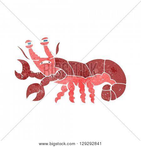 freehand retro cartoon lobster