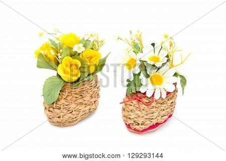 Basketry Shoes with Artificial chrysanthemumRose flower on white background