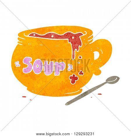freehand retro cartoon bowl of soup