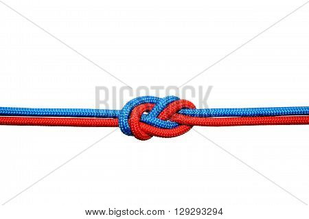 Knot on a cord on a white background