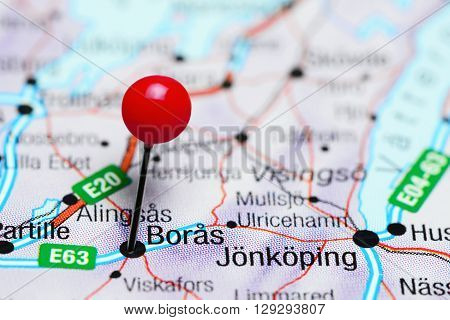 Boras pinned on a map of Sweden