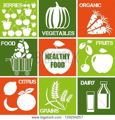 Set of icons - organic and healhty food. Logos set for organic market.