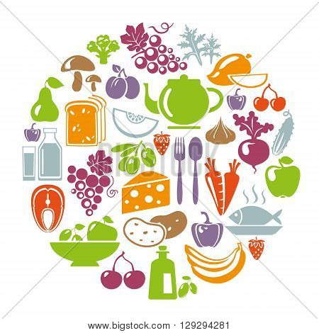 Vector illustration of healthy food concept. Circle shape with organic food icons: vegetables fruits fish tea coffee cheese olive oil dairy