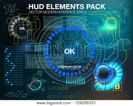 Fantastic abstract background with different elements of the HUD. Big set of various HUD elements. Charts, ratings style HUD switches and various geometrical objects