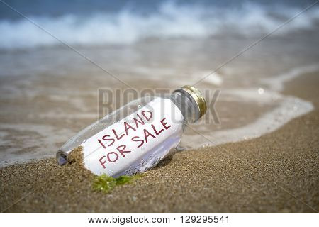 Island For Sale Proposal In A Bottle