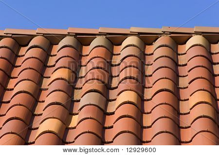 Orange tile roof closeup