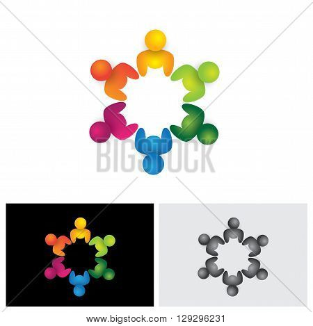 People In Circle, Community Or Team Of Kids, Employees Vector Logo Icon