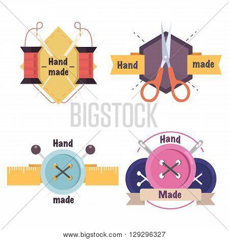 Handmade workshop logo set for sewing,handmade artist or knitwear company.Flat Vector illustration