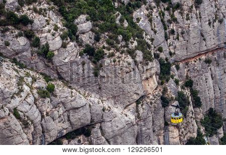 cable car to Santa Maria de Montserrat Abbey in Montserrat mountains Spain