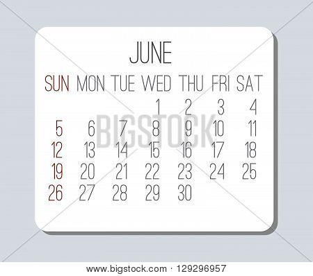 June 2016 plain vector monthly calendar. Week starting from Sunday. Clean light design over light gray background.