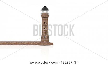 3D rendering lighthouse on white background.Isolated.