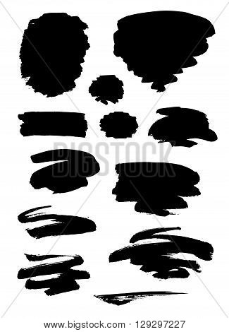 Collection of different black grunge brush strokes and forms isolated over white background. Set of design elements. Vector illustration.