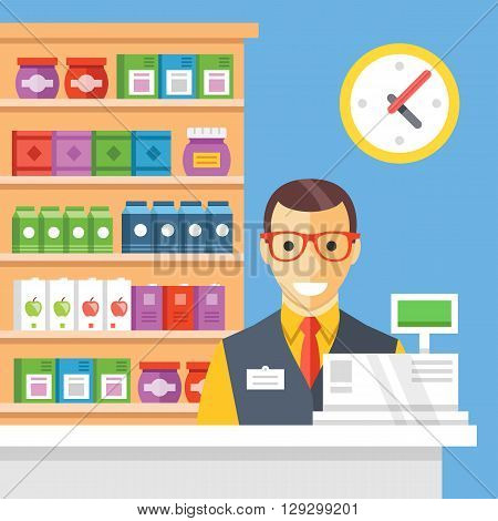 Supermarket checkout and cashier. Store counter desk, cash register, shop shelves, employee and clock. Flat vector illustration