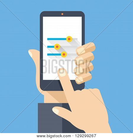 Hand holding smartphone with settings screen. Modern concept for web banners, web sites, printed materials, infographics. Flat design vector illustration
