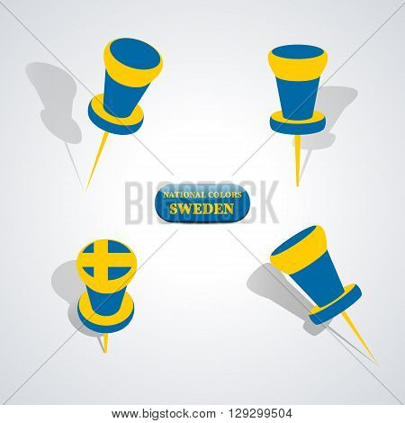 Set of pushpin in the national colors of Sweden vector illustration.