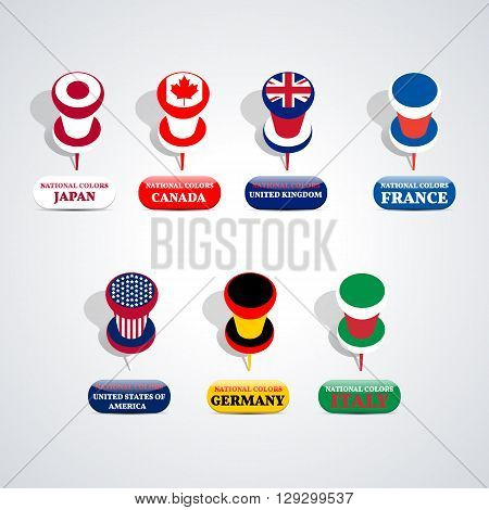 Set of pushpin in the national colors Group of Seven countries vector illustration.