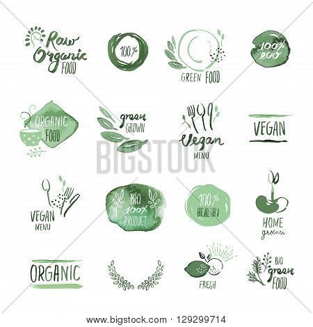 Set of organic food hand drawn watercolor stickers and elements. Vector illustrations for organic food and drink, restaurant and organic products.