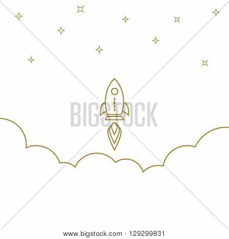 Startup rocket gold line banner concept. Business start. Rocket in outline style starts up in the sky.