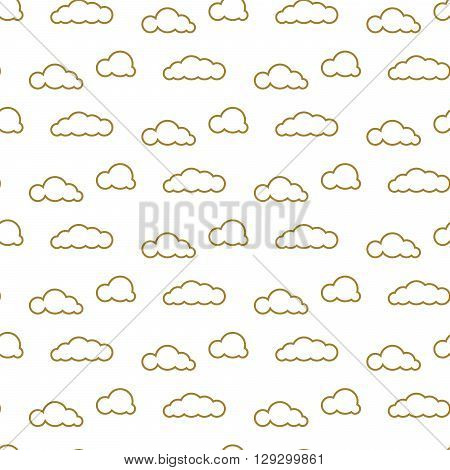 Golden line clouds vector seamless pattern. Dense sky print for textile. Room decor stickers for wall, furniture, surfaces.