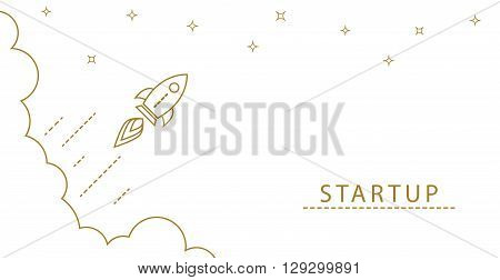 Startup rocket gold line horizontal banner concept. Business start. Rocket flies with speed from clouds.