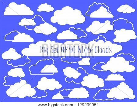 Big set of 40 white clouds vector clipart. Set of blue sky clouds. Cloud icon cloud shape