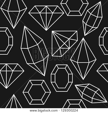 Diamond gem shape seamless pattern. Diamond white geometric outline objects on dark grey background.