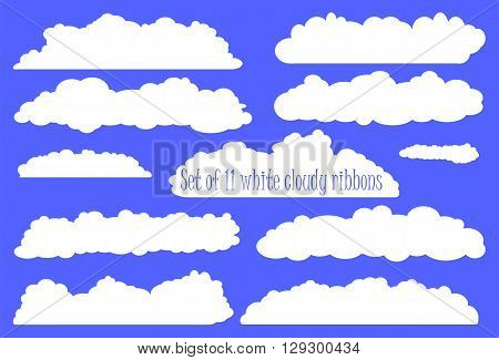 White fluffy cloud ribbon set white ribbons from clouds for wedding or baby shower invitation design with clouds