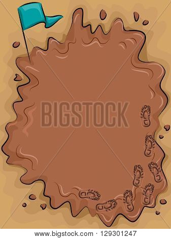 Frame Illustration Featuring a Puddle of Mud for Mud Run