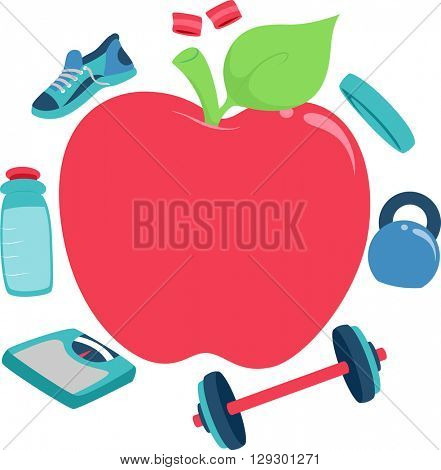 Frame Illustration Featuring an Apple Surrounded by Items Related to Fitness