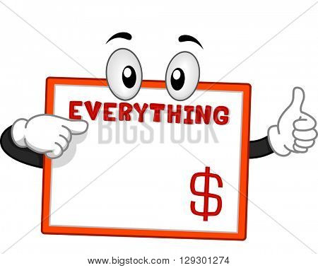 Mascot Illustration Featuring a Board Selling Products for a Dollar