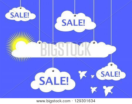 Sale advertisement vector illustration white clouds and summer sun white clouds and white dove bird summer sale banner discount flyer optimistic heaven advertisement illustration with text place