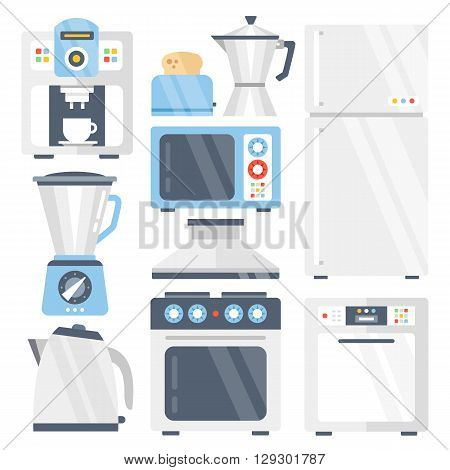 Kitchen appliances set. Coffee machine, toaster, refrigerator, coffee maker, blender, juicer, microwave, electric kettle, stove, dishwasher, kitchen extractor fan. Flat icons. Vector illustration isolated on white background
