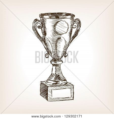 Golden cup sketch style vector illustration. Old engraving imitation.