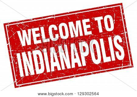 Indianapolis red square grunge welcome to stamp