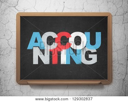 Banking concept: Painted multicolor text Accounting on School board background, 3D Rendering