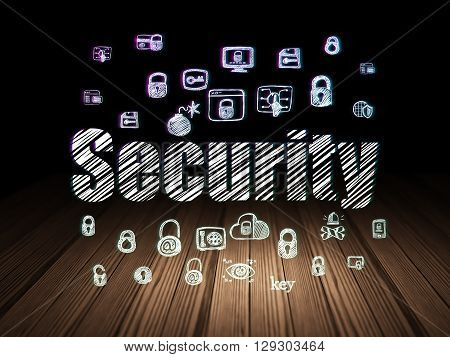 Privacy concept: Glowing text Security,  Hand Drawn Security Icons in grunge dark room with Wooden Floor, black background